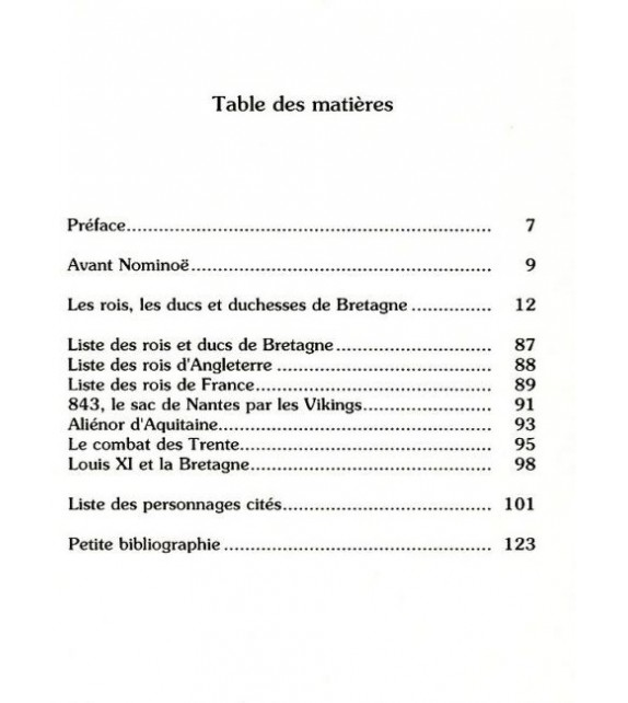 PETITE HISTOIRE DES ROIS ET DUCS DE BRETAGNE