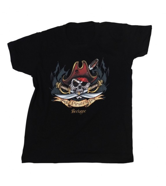 TEE-SHIRT BLACK PIRATES FLAG