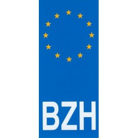 AUTOCOLLANT PLAQUE IMMATRICULATION EUROPE BZH