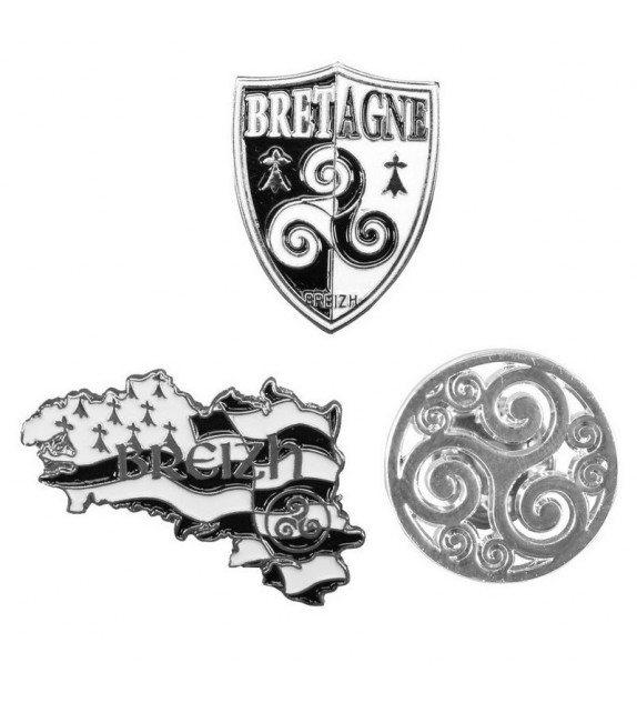 3 PIN'S BRETAGNE TRISKELL
