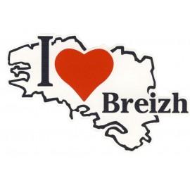 AUTOCOLLANT CARTE I LOVE BREIZH