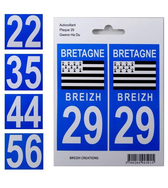 AUTOCOLLANTS VOITURE - Départements de Bretagne (22, 29, 35, 44, 56)