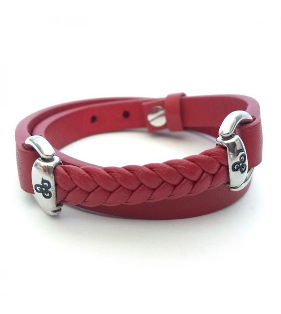 BRACELET RÉGLABLE - Cuir rouge, motifs triskels
