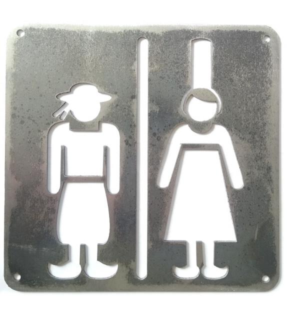 """PLAQUE DE PORTE """"WC"""" - Couple breton"""